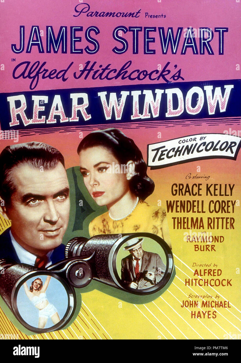 James Stewart and Grace Kelly, 'Rear Window' 1954. Paramount  Poster   File Reference # 31386_736THA - Stock Image