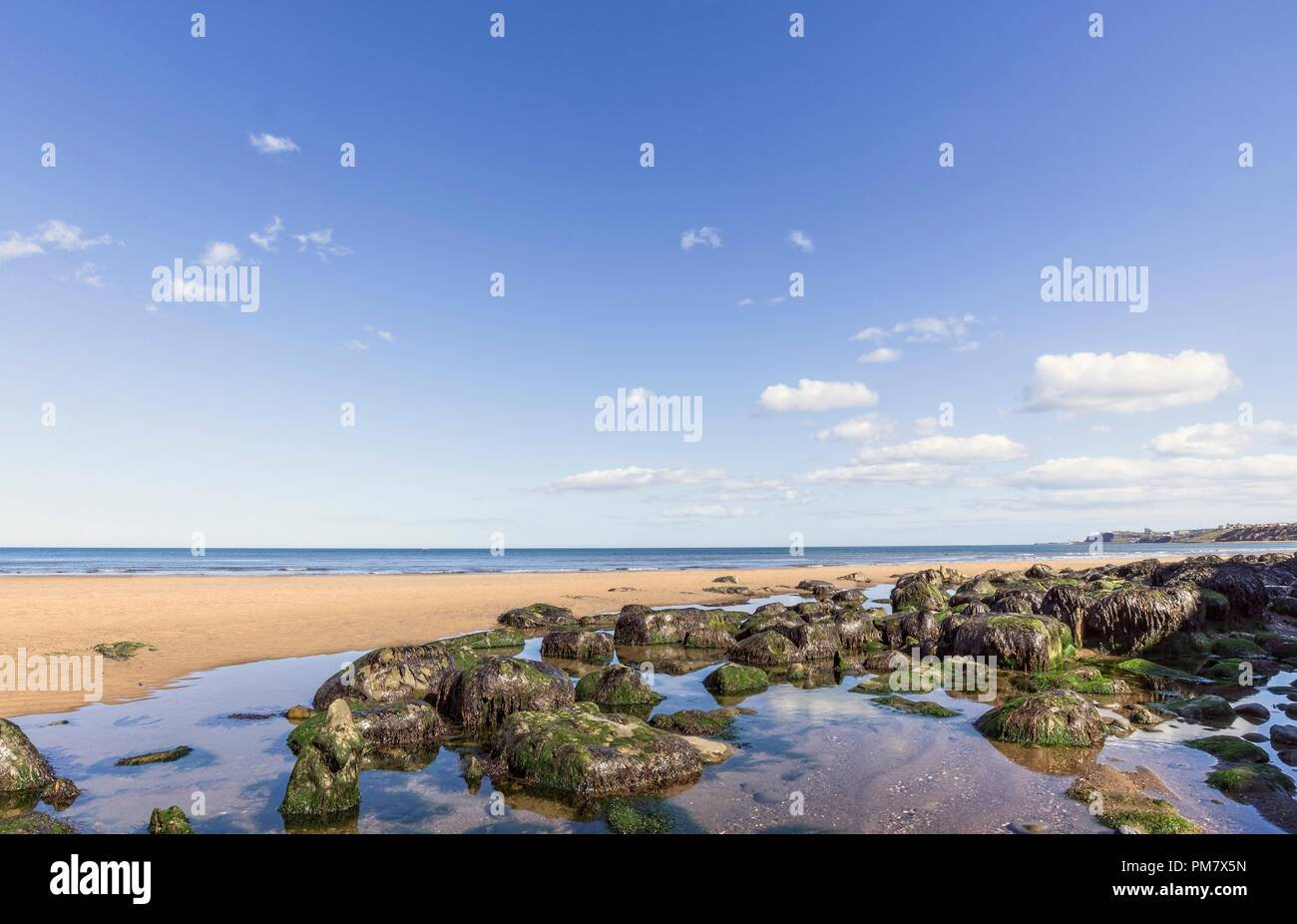 A pool of water with rocks on the beach at Sabdsend.  Whitby can be seen in the distance. Stock Photo