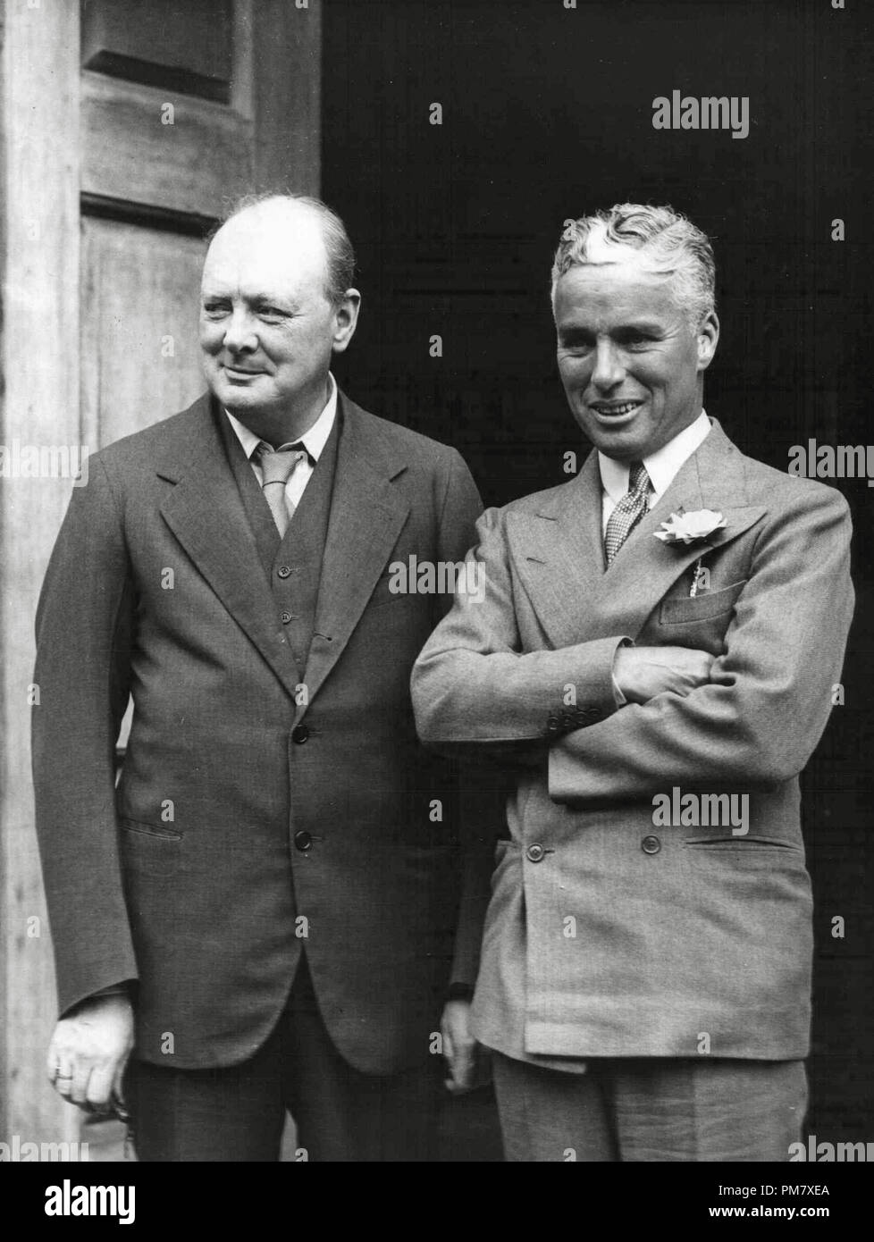 Charles Chaplin, the English- born Hollywood actor, with Mr. Winston Churchill, his host during a London visit, circa 1932 File Reference # 31537_697 - Stock Image
