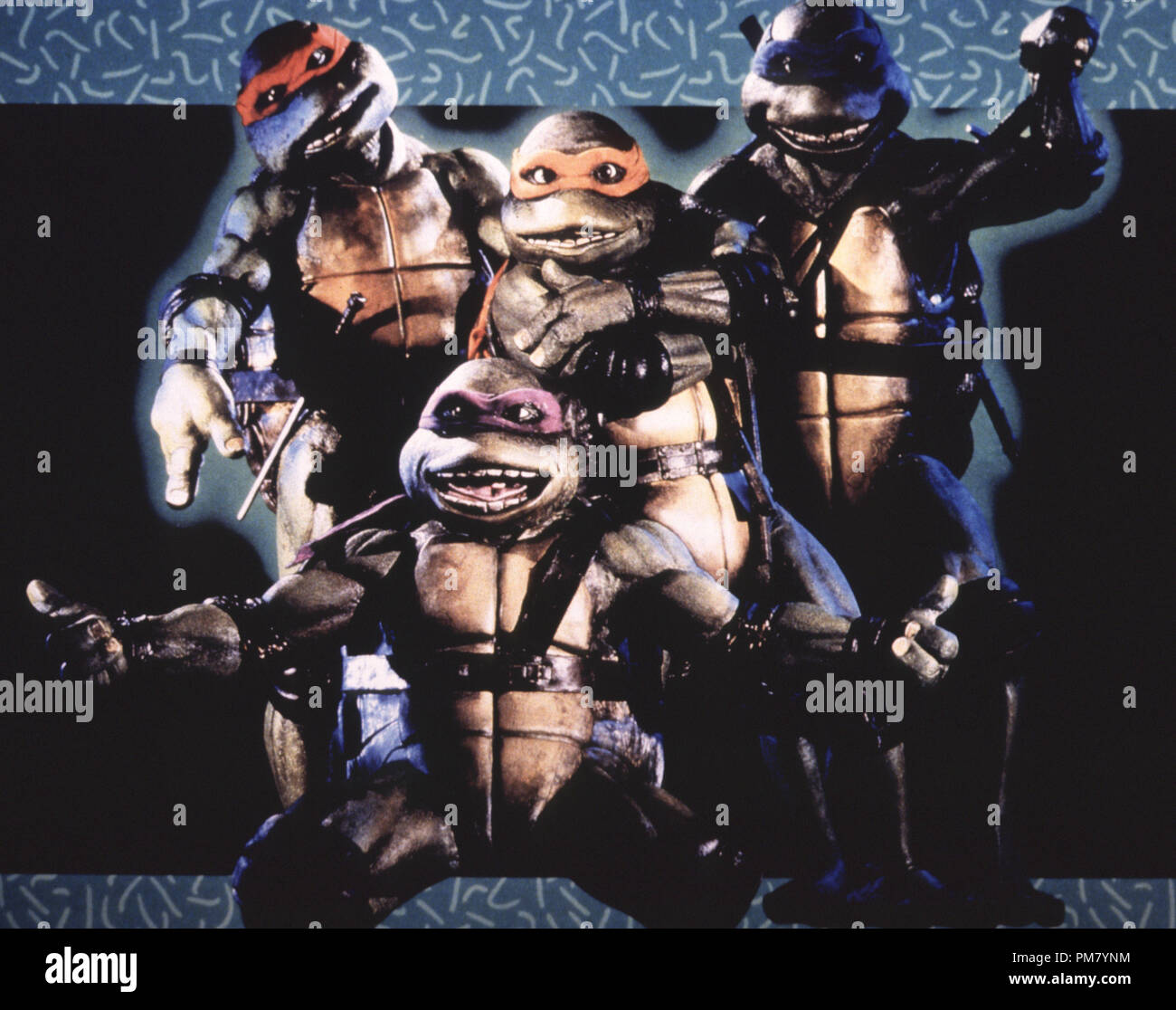 Film still or Publicity still from 'Teenage Mutant Ninja Turtles' Donatello, Michaelangelo, Raphael, Leonardo © 1990 New Line Cinema All Rights Reserved   File Reference # 31571047THA  For Editorial Use Only - Stock Image