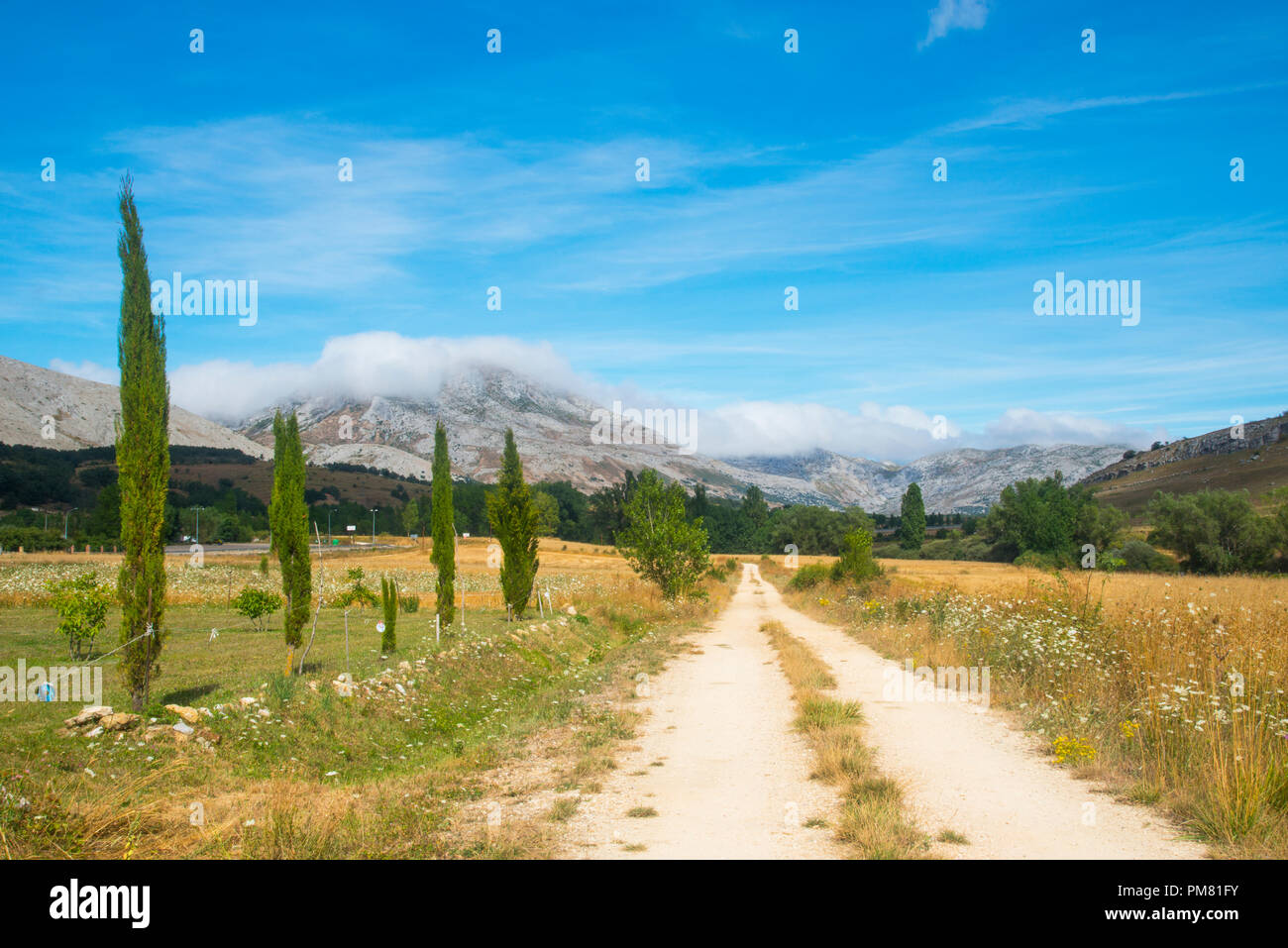 Way and mountains. Villaverde de la Peña, Palencia province, Castilla Leon, Spain. - Stock Image
