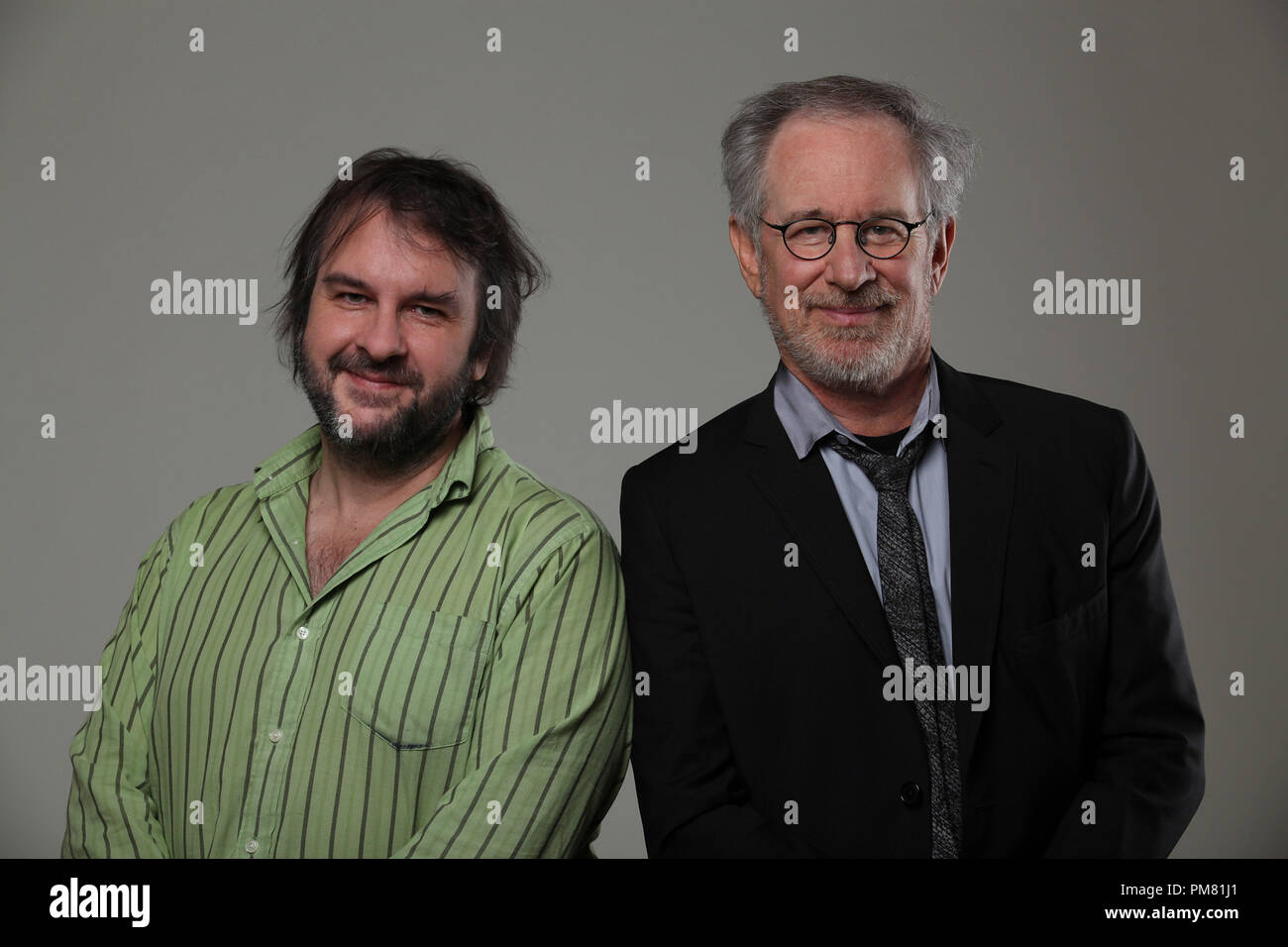 bbcd6c57a263 Left to right: Producer Peter Jackson with Director/Producer Steven  Spielberg behind-the