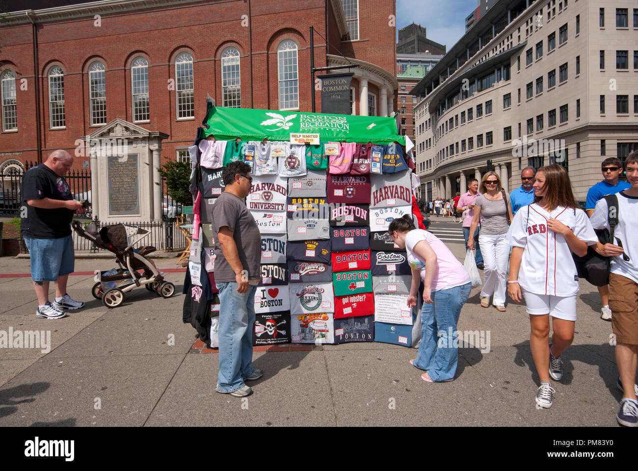Kiosk selling t-shirts at Boston Common, on the corner between Park St. and Tremont St., Boston, Suffolk County, Massachusetts, USA - Stock Image