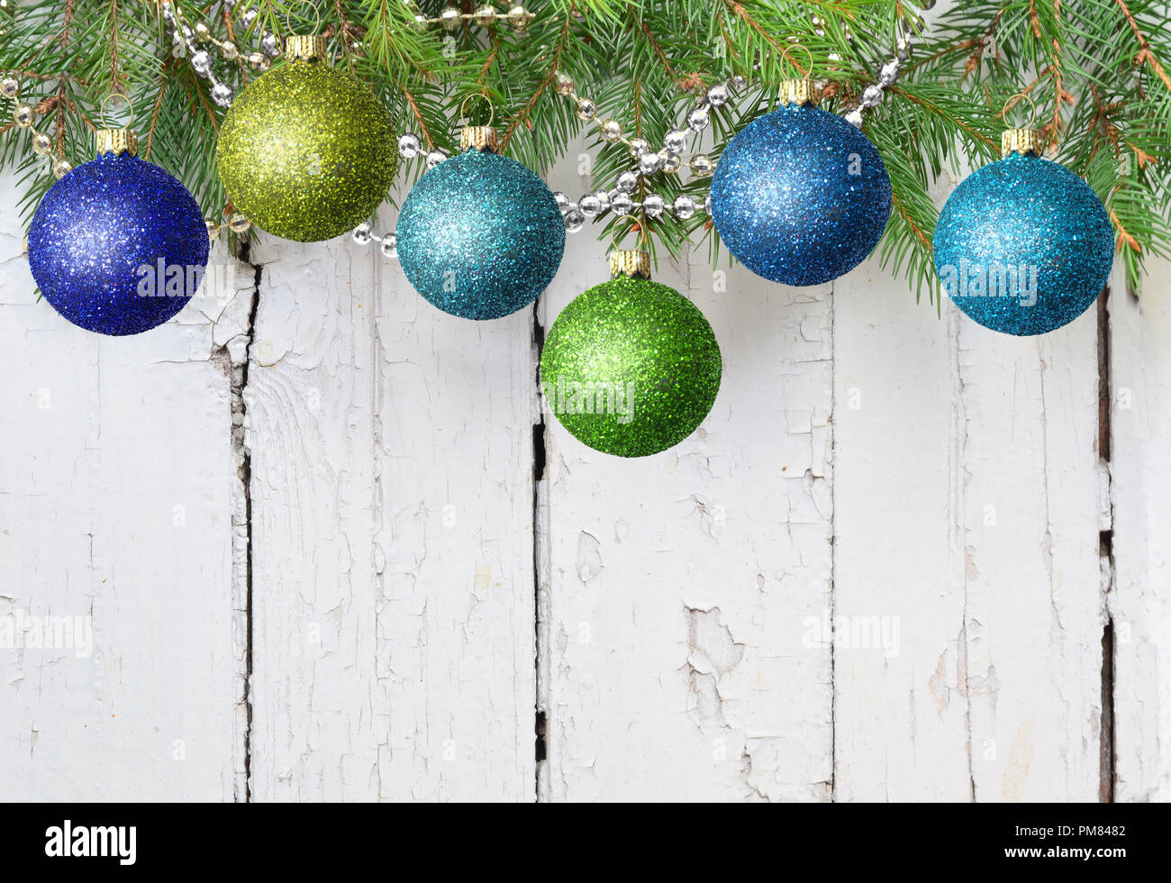 Christmas Decoration Green And Blue Balls Fir Branches On A White Wooden Background Copy Space Christmas Decoration Christmas Ornament Merry Chri Stock Photo Alamy