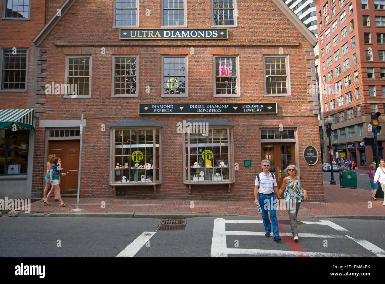 Ultra Diamonds Shop at Old Corner Bookstore, Boston, Suffolk County,  Massachusetts, USA - Stock Image