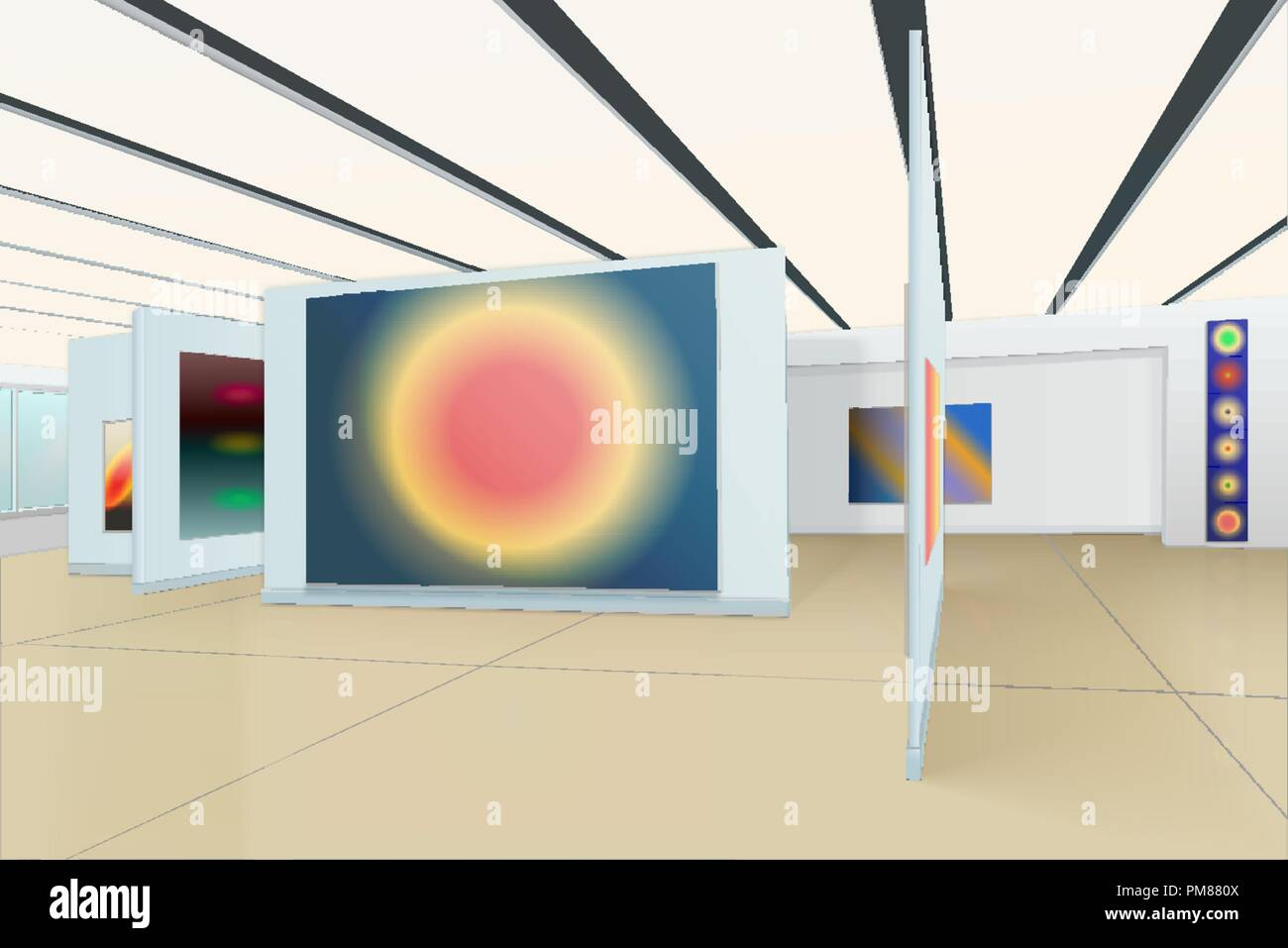 three-dimensional panorama of the hall of the picture gallery with modern abstract paintings, striped ceiling, window with green glass and shadows on  - Stock Vector