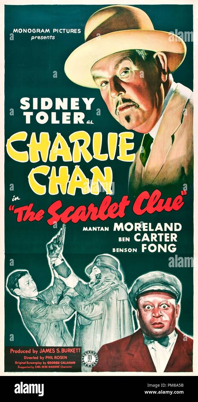 Studio Publicity: 'The Scarlet Clue' Poster  Sidney Toler 1945  File Reference # 31780_486 - Stock Image