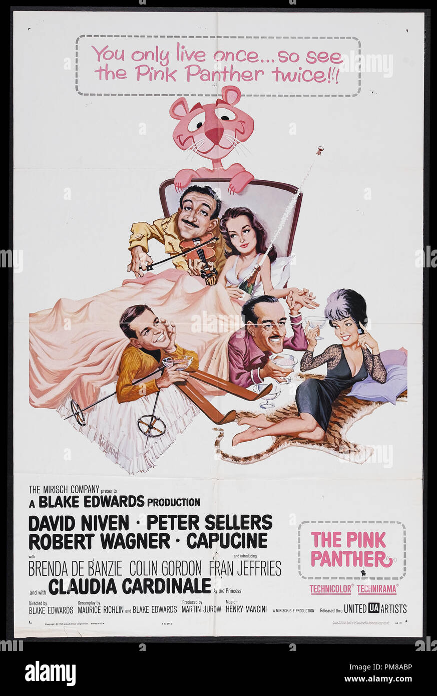 "Studio Publicity: ""The Pink Panther"" 1963 MGM  French Poster  Peter Sellers, David Niven  File Reference # 31780 645 Stock Photo"