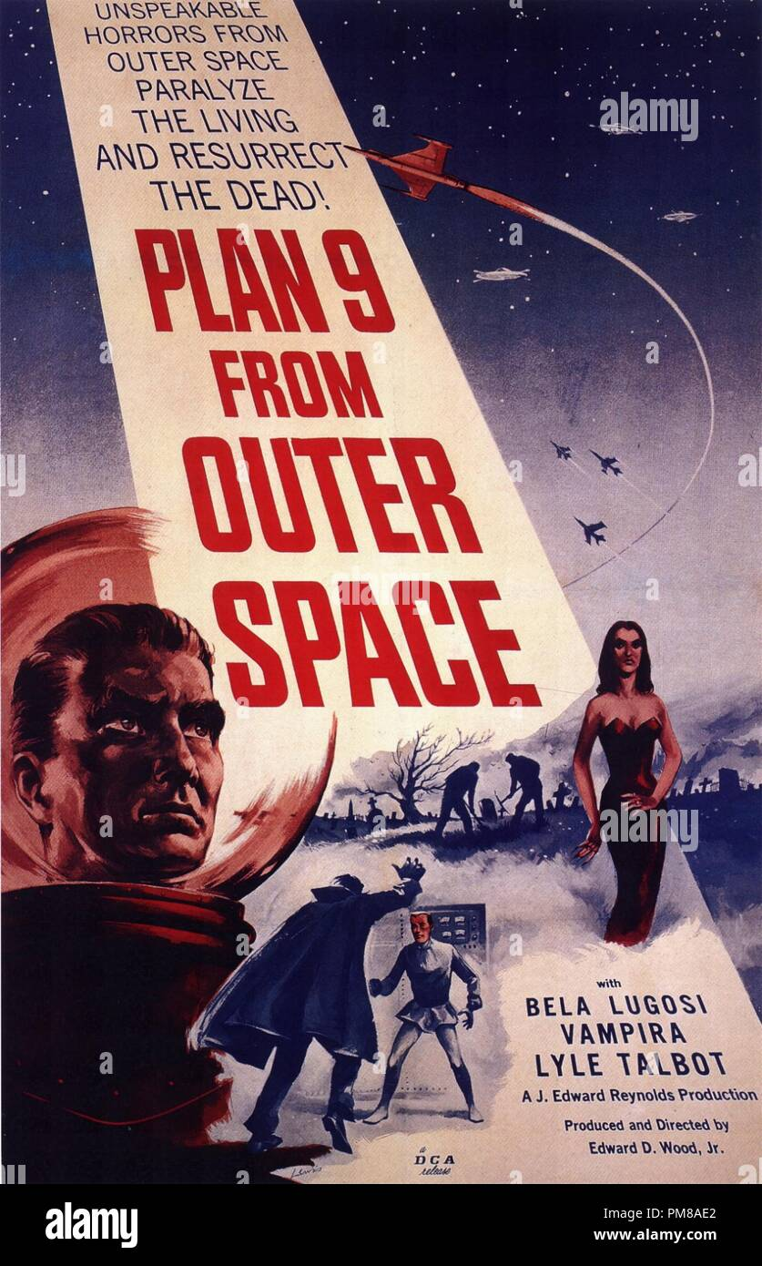 Studio Publicity: 'Plan 9 from Outer Space' 1959 DCA  Poster  Bela Lugosi, Vampira   File Reference # 31780_697 - Stock Image