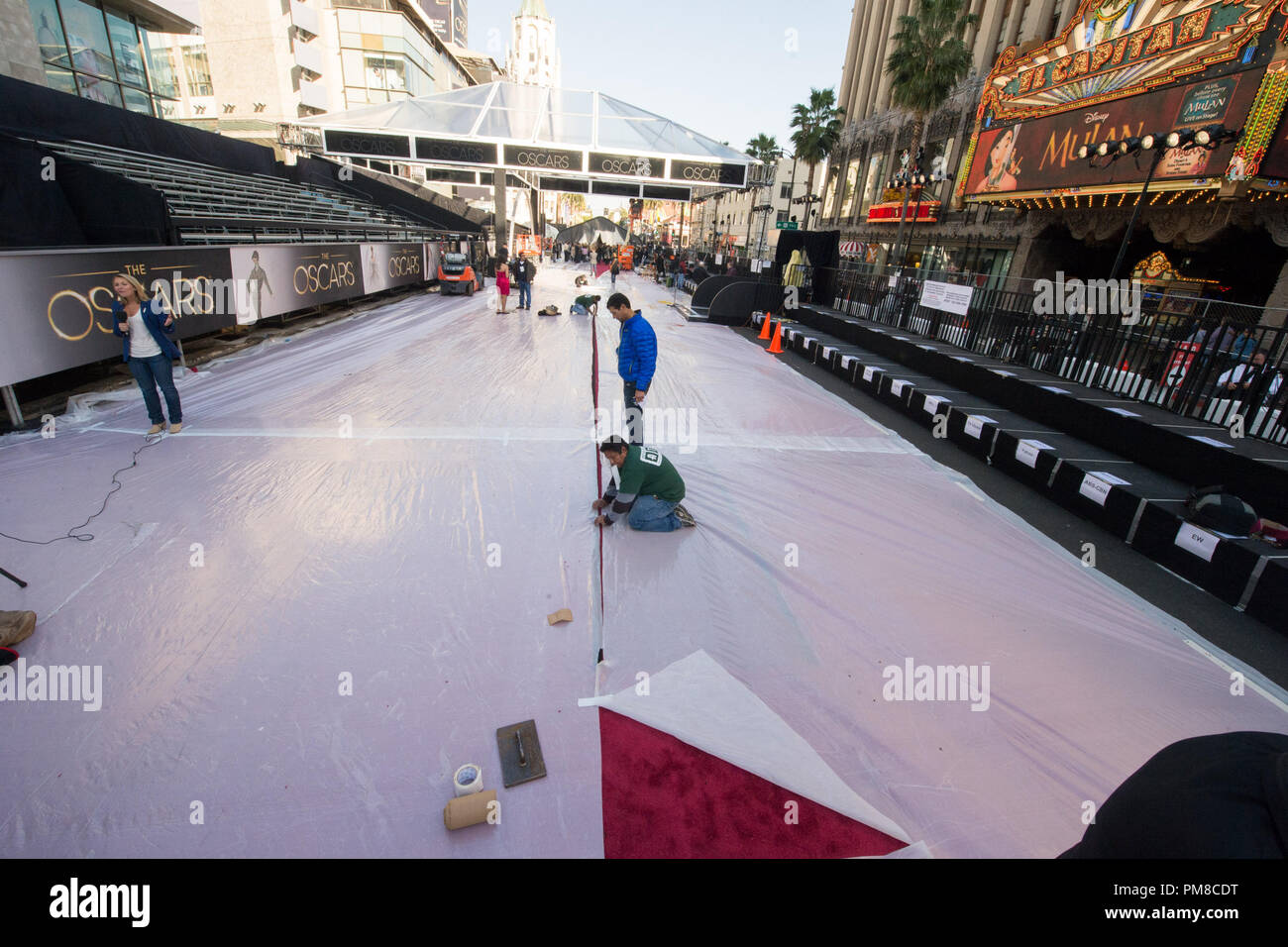 Preparations continue Thursday, February 21, for the The Oscars® which will be presented on Sunday, February 24, 2013, at the Dolby® Theatre and televised live by the ABC Television Network. Stock Photo
