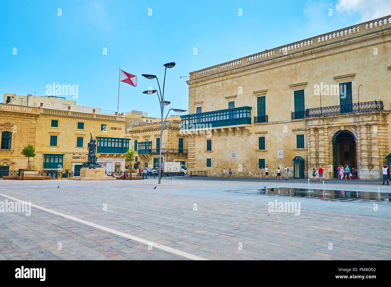 VALLETTA, MALTA - JUNE 17, 2018:  The St George's Square is the main area in city with preserved historical and architectural landmarks, such as Grand - Stock Image