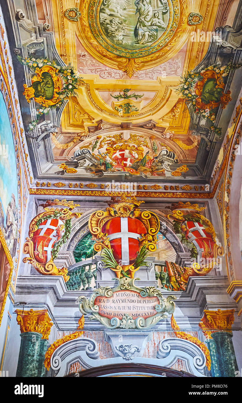 VALLETTA, MALTA - JUNE 17, 2018: The wall and ceiling in corridor of Grandmaster's Palace are covered with masterpiece murals with painted collumns, s - Stock Image