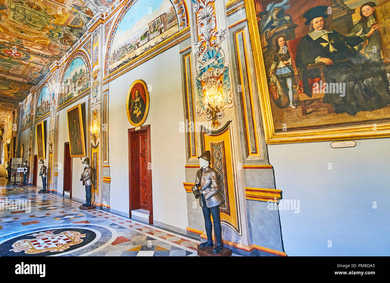 VALLETTA, MALTA - JUNE 17, 2018: The State Rooms of Grandmaster's Palace is one of the main city landmarks, on June 17 in Valletta. - Stock Image