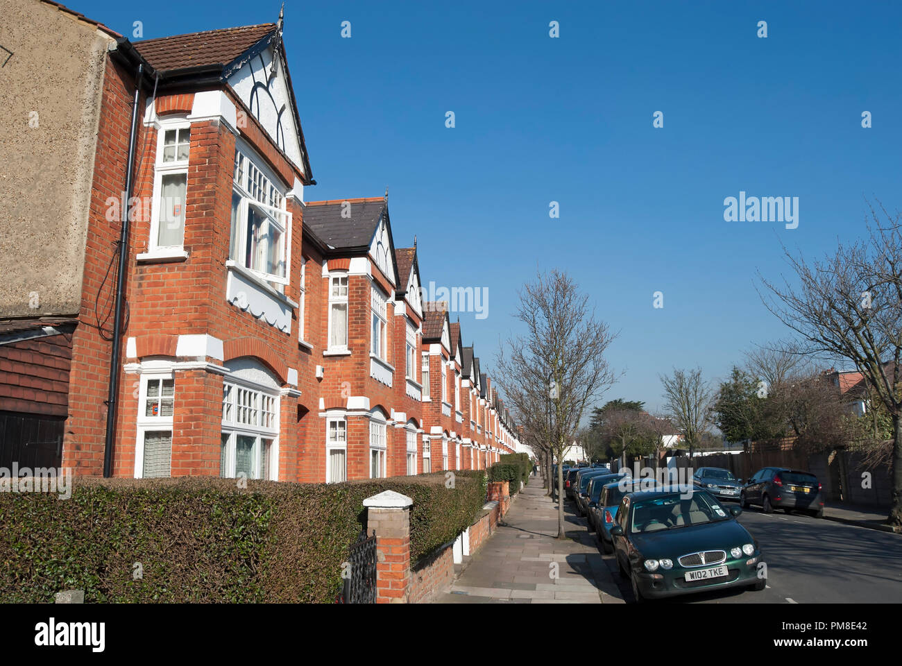 bay fronted victorian houses in bedford park, chiswick, london, england Stock Photo