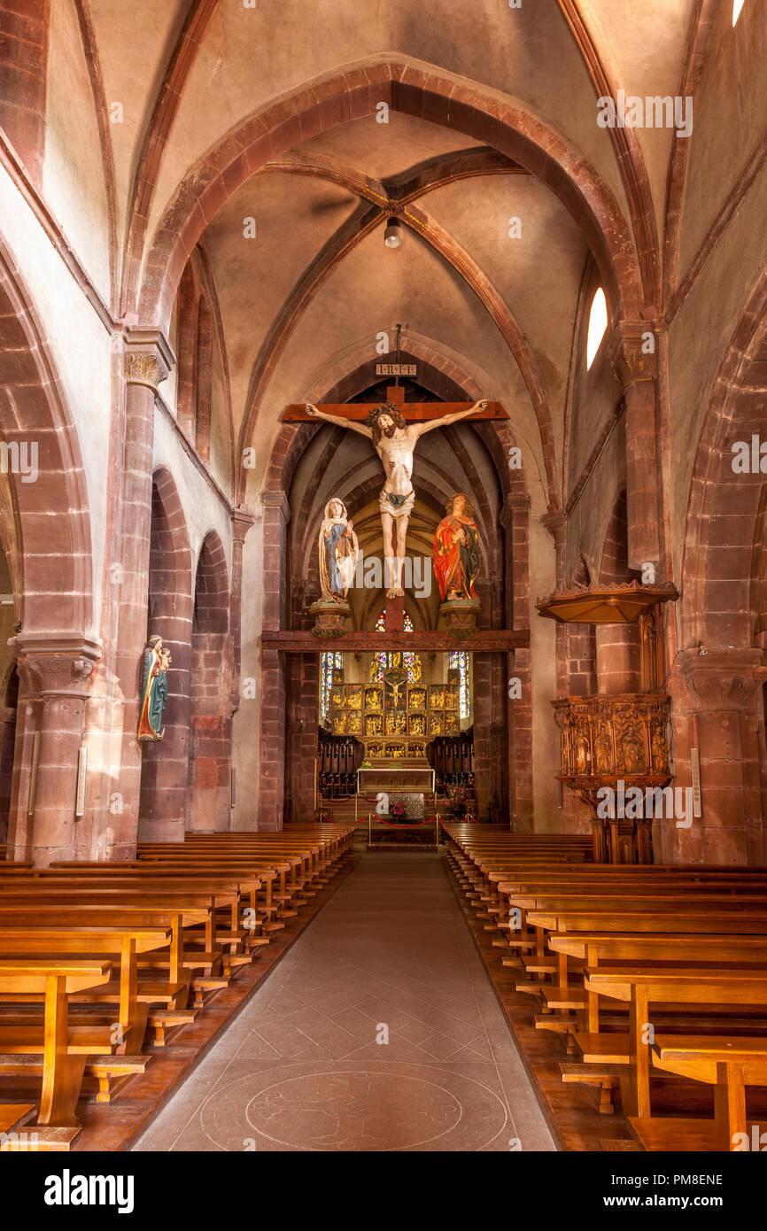 Interior of Eglise Sainte-Croix Kaysersberg, Kaysersberg-Vignoble, Alsace, France Stock Photo