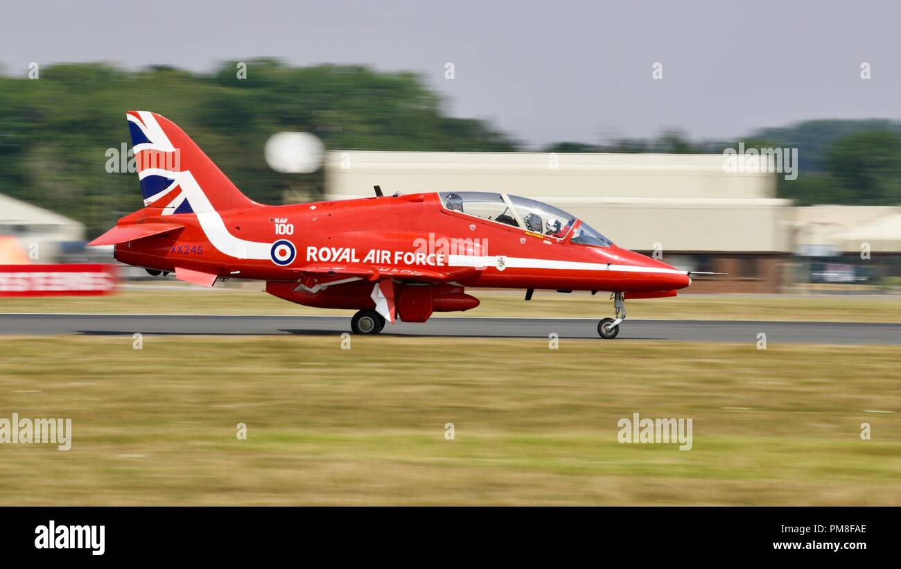 Royal Air Force Red Arrows BAE Systems Hawk T1/T1A jet landing at RAF Fairford - Stock Image