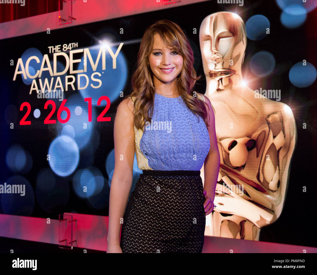 Oscar®-nominated actress Jennifer Lawrence (pictured) and Academy President Tom Sherak announced the nominees for the 84th Annual Academy Awards in the Academy's Samuel Goldwyn Theater 1/24/2012 - Stock Image