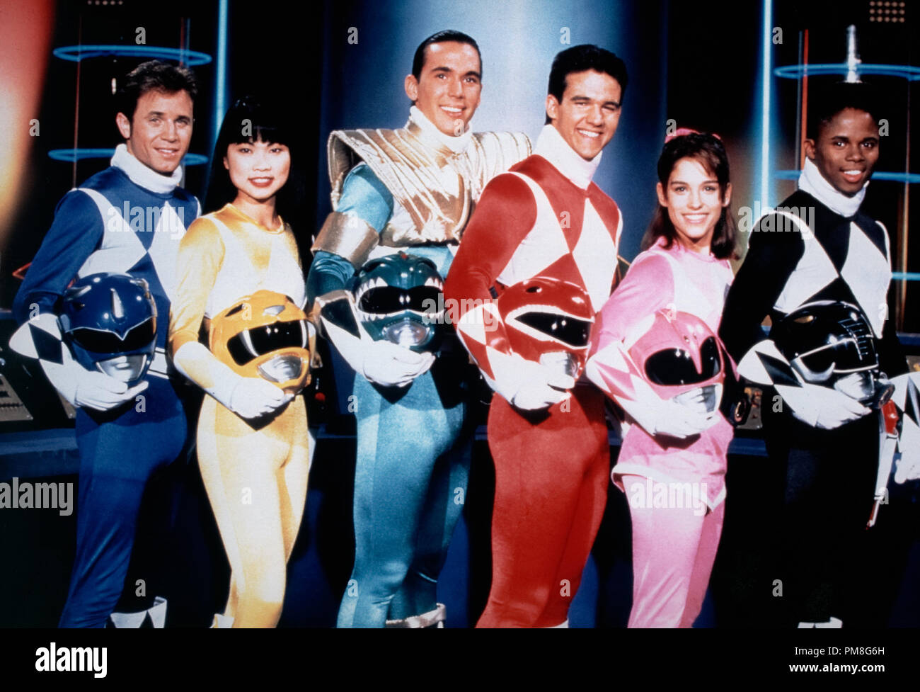 Film still / publicity still from 'Mighty Morphin' Power Rangers' David Yost, Thuy Trang, Jason David Frank, Steve Cardenas, Amy Jo Johnson circa 1993   File Reference # 31371221THA  For Editorial Use Only All Rights Reserved - Stock Image