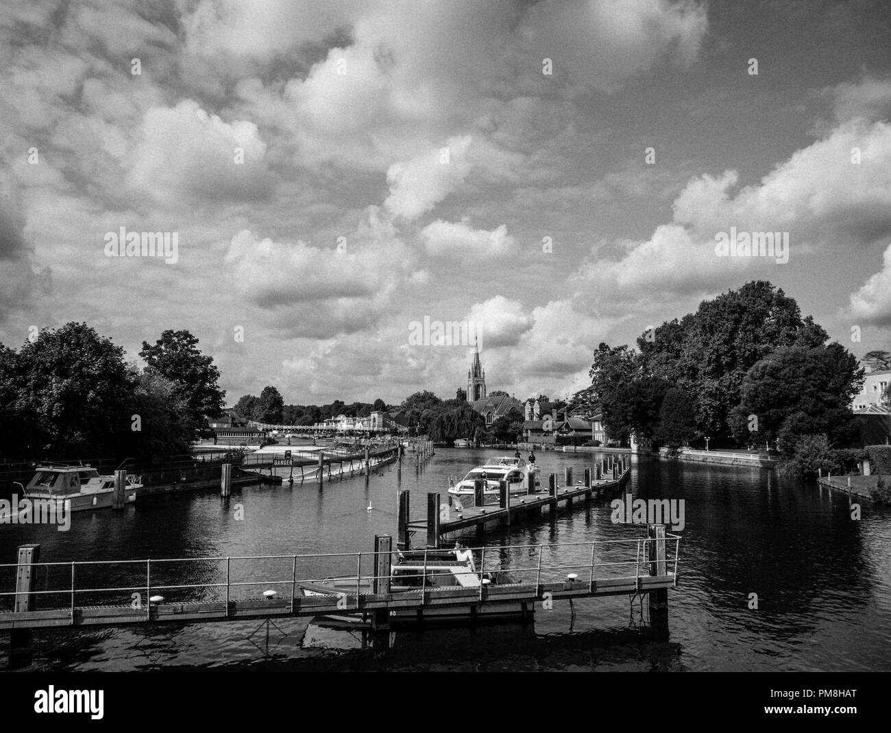 River Thames at Marlow,With Marlow Bridge and All Saints Church,  Buckinghamshire, England, UK, GB. Stock Photo