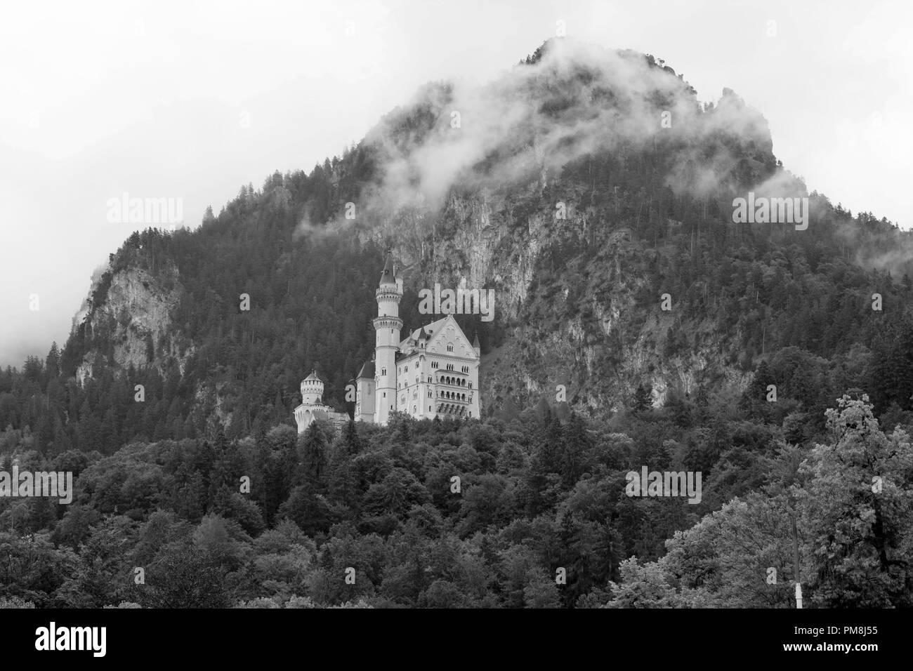 Neuschwanstein castle black and white - Stock Image