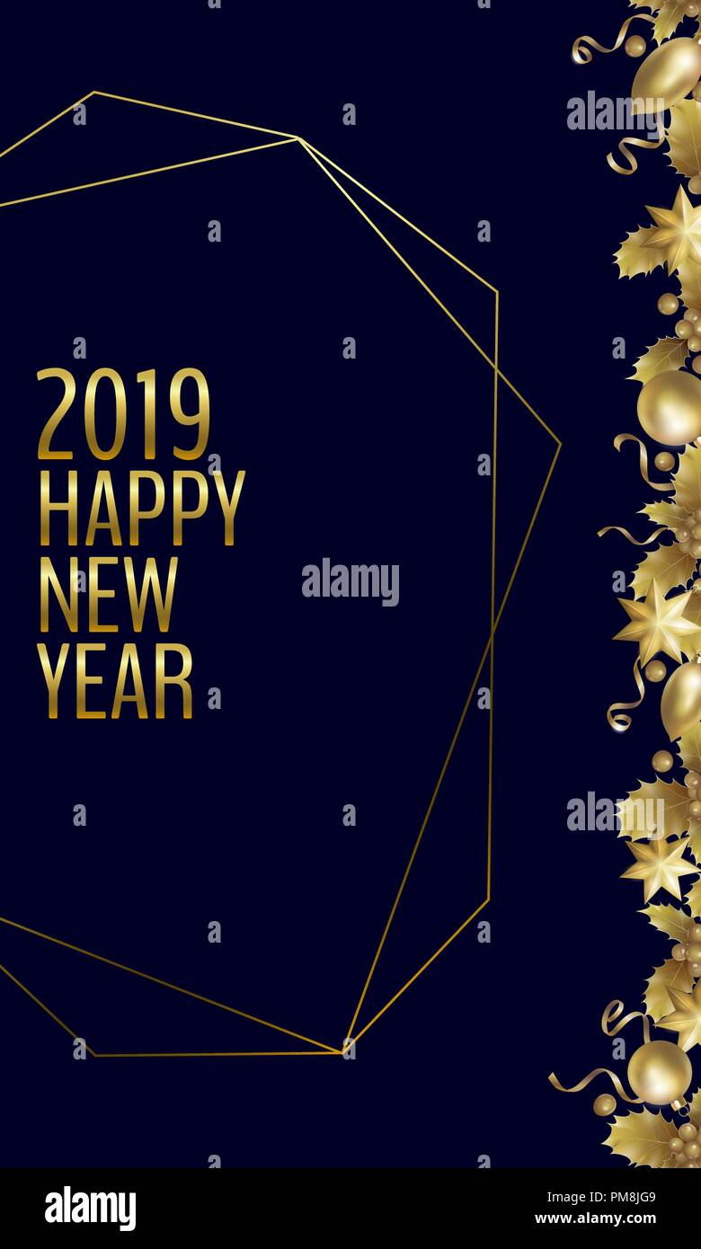 realistic new year golden banner greeting card holly berry gold corner vintage winter 2019 holiday decoration design element template 3d render mesh gold