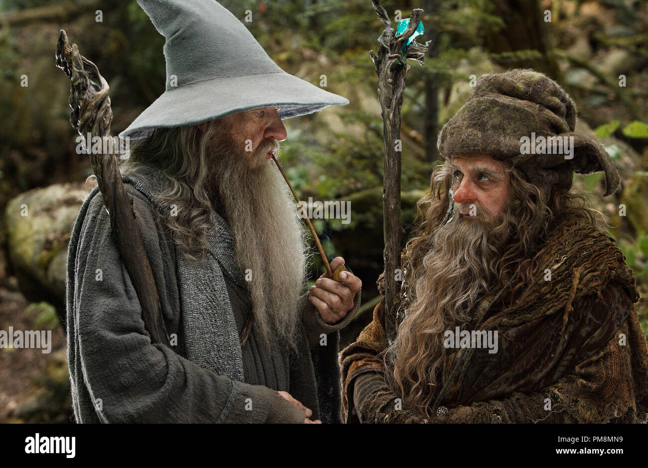 "(L-r) IAN McKELLEN as Gandalf and SYLVESTER McCOY as Radagast in the fantasy adventure ""THE HOBBIT: AN UNEXPECTED JOURNEY,"" a production of New Line Cinema and Metro-Goldwyn-Mayer Pictures (MGM), released by Warner Bros. Pictures and MGM. - Stock Image"