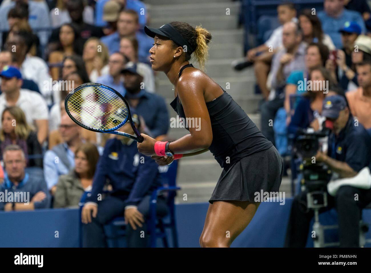 Naomi Osaka (JPN) during the women's final at the 2018 US Open Tennis. - Stock Image
