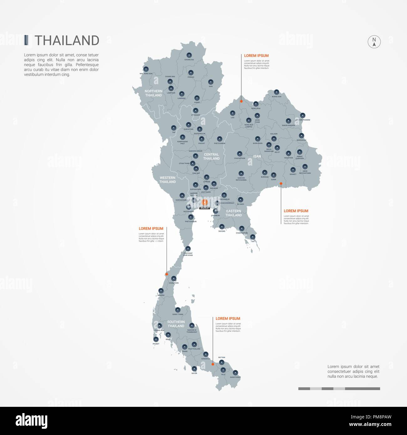 Thailand map with borders, cities, capital and ...