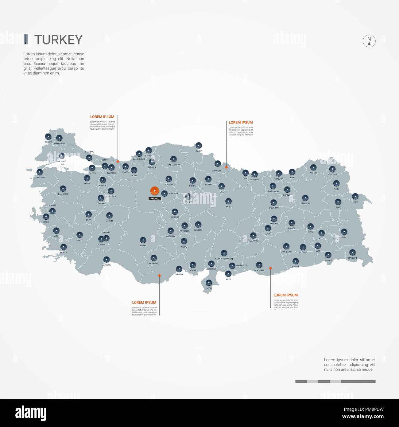 Turkey map with borders, cities, capital and administrative ...