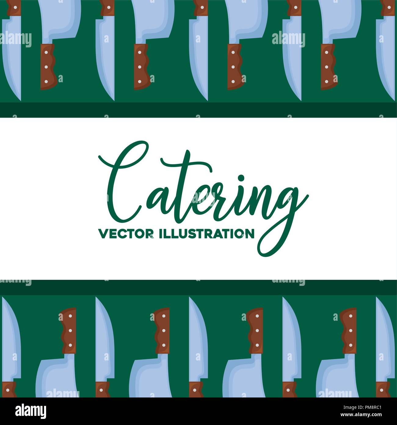 background of catering concept with knifes pattern, colorful design. vector illustration - Stock Image