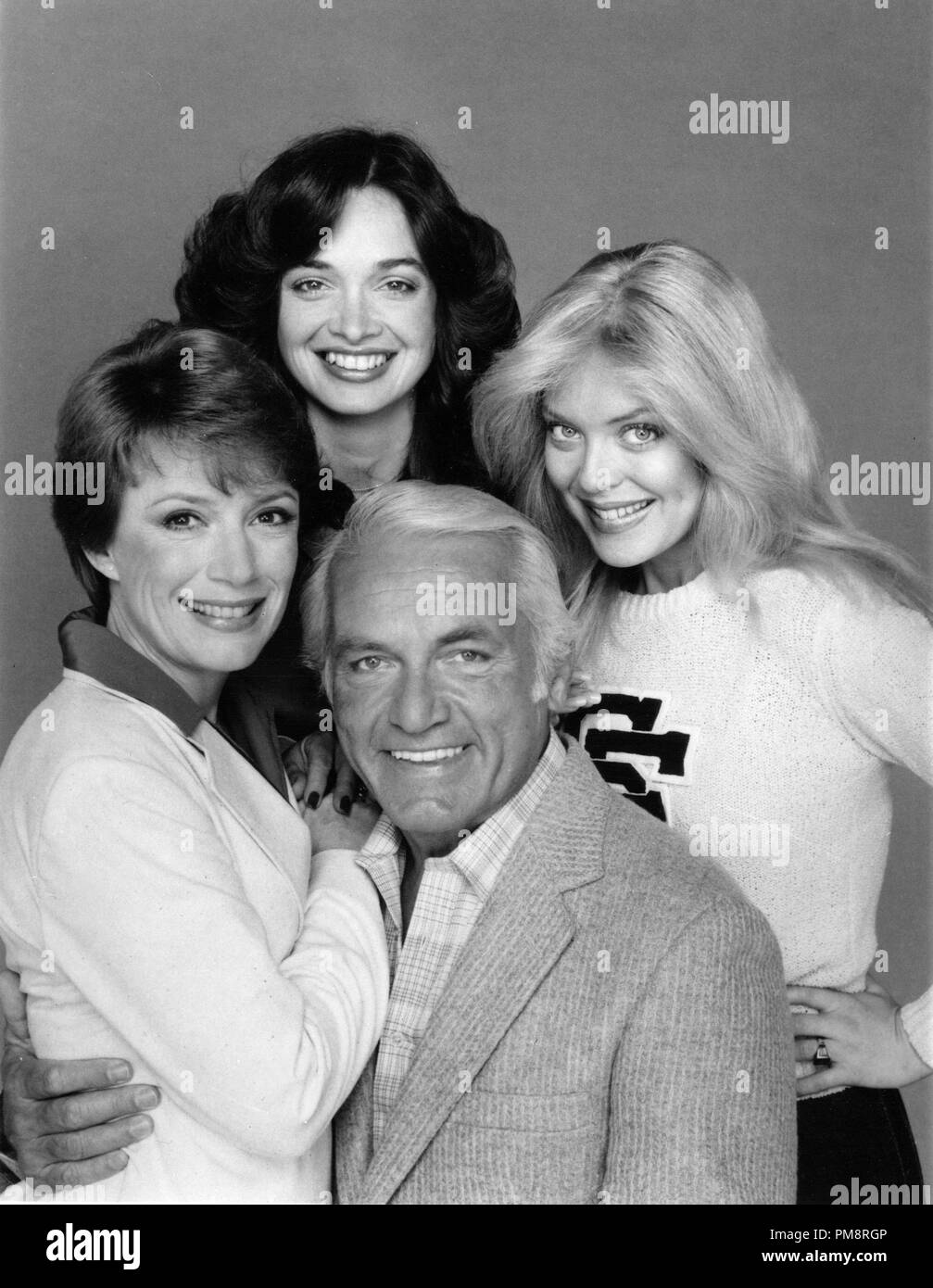 Studio Publicity Still from 'Too Close For Comfort' Nancy Dussault,Ted Knight,Deborah Van Valkenburgh, Lydia Cornell 1980   All Rights Reserved   File Reference # 31715024THA  For Editorial Use Only - Stock Image