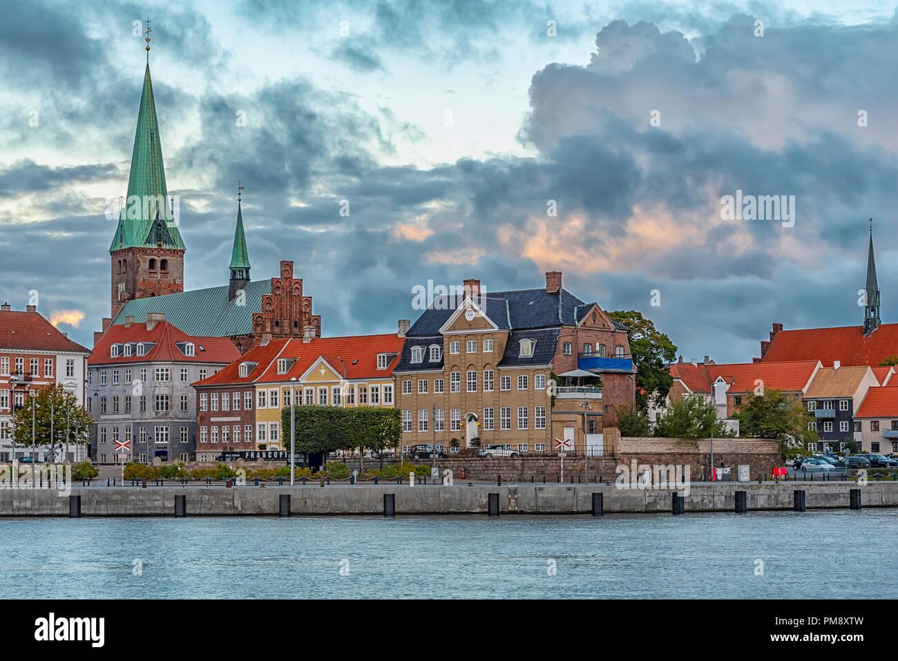 The city of Helsingor in Denmark from across the harbour. - Stock Image