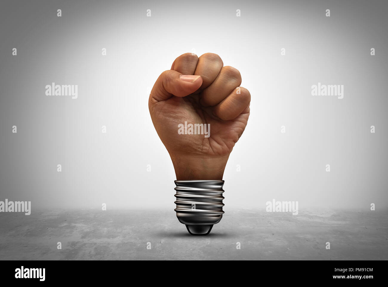 Power of idea concept as a human fist inside a light bulb socket with 3D illustration elements. - Stock Image