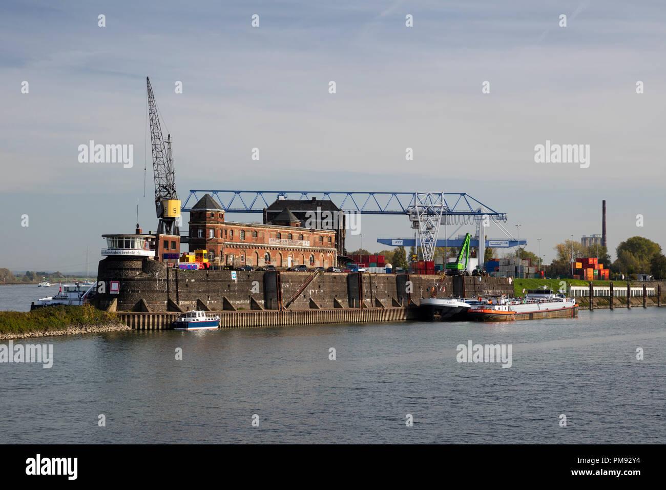 Industrial harbor, Krefeld, Niederrhein, North Rhine-Westphalia, Germany, Europe - Stock Image