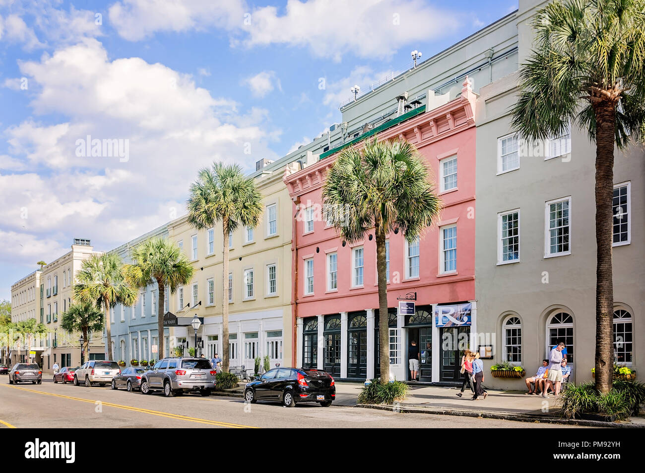 Shops are pictured along Vendue Range, April 5, 2015, in Charleston, South Carolina. - Stock Image