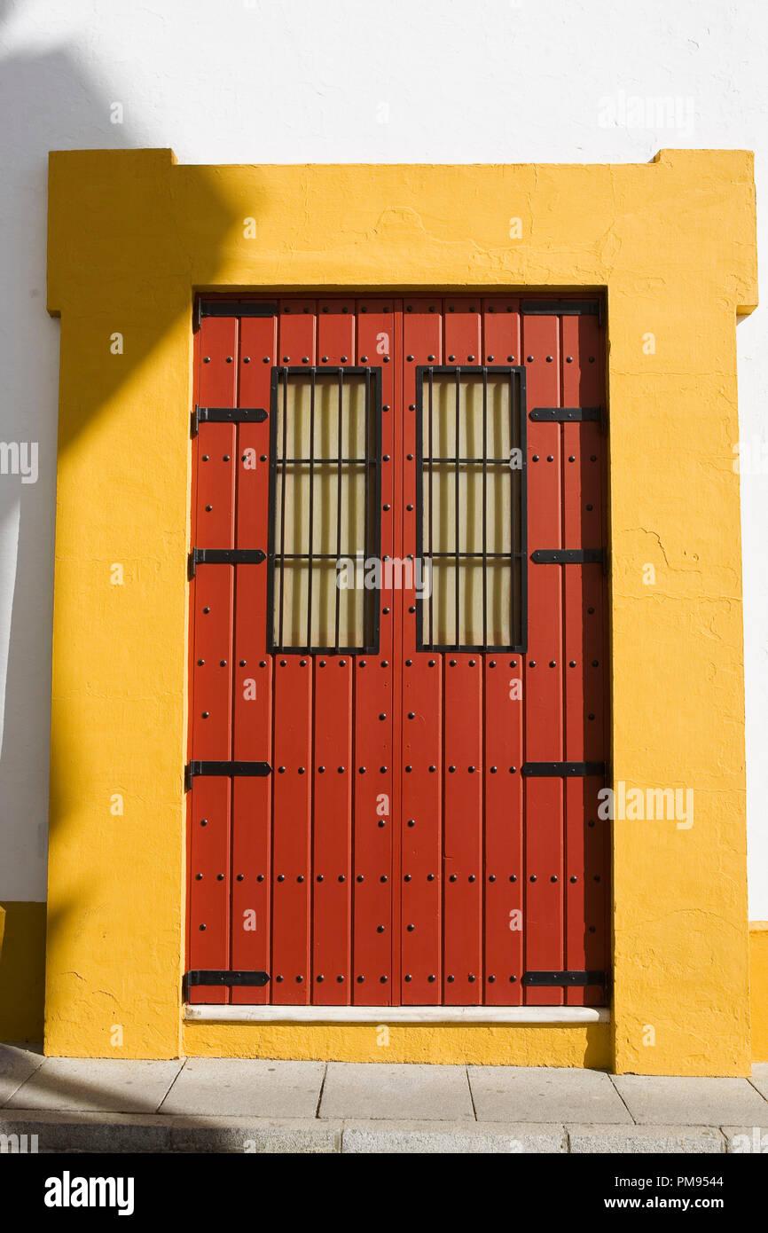 Doorway, Plaza de toros de la Real Maestranza de Caballería de Sevilla, Andalusia, Spain - Stock Image