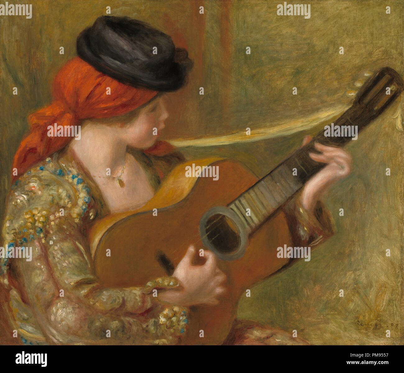 Young Spanish Woman with a Guitar. Dated: 1898. Dimensions: overall: 55.6 x 65.2 cm (21 7/8 x 25 11/16 in.)  framed: 81.9 x 92.1 x 10.1 cm (32 1/4 x 36 1/4 x 4 in.). Medium: oil on canvas. Museum: National Gallery of Art, Washington DC. Author: AUGUSTE RENOIR. - Stock Image
