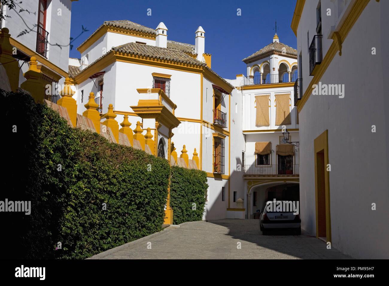 Lane outside the Plaza de toros de la Real Maestranza de Caballería de Sevilla, Andalusia, Spain - Stock Image