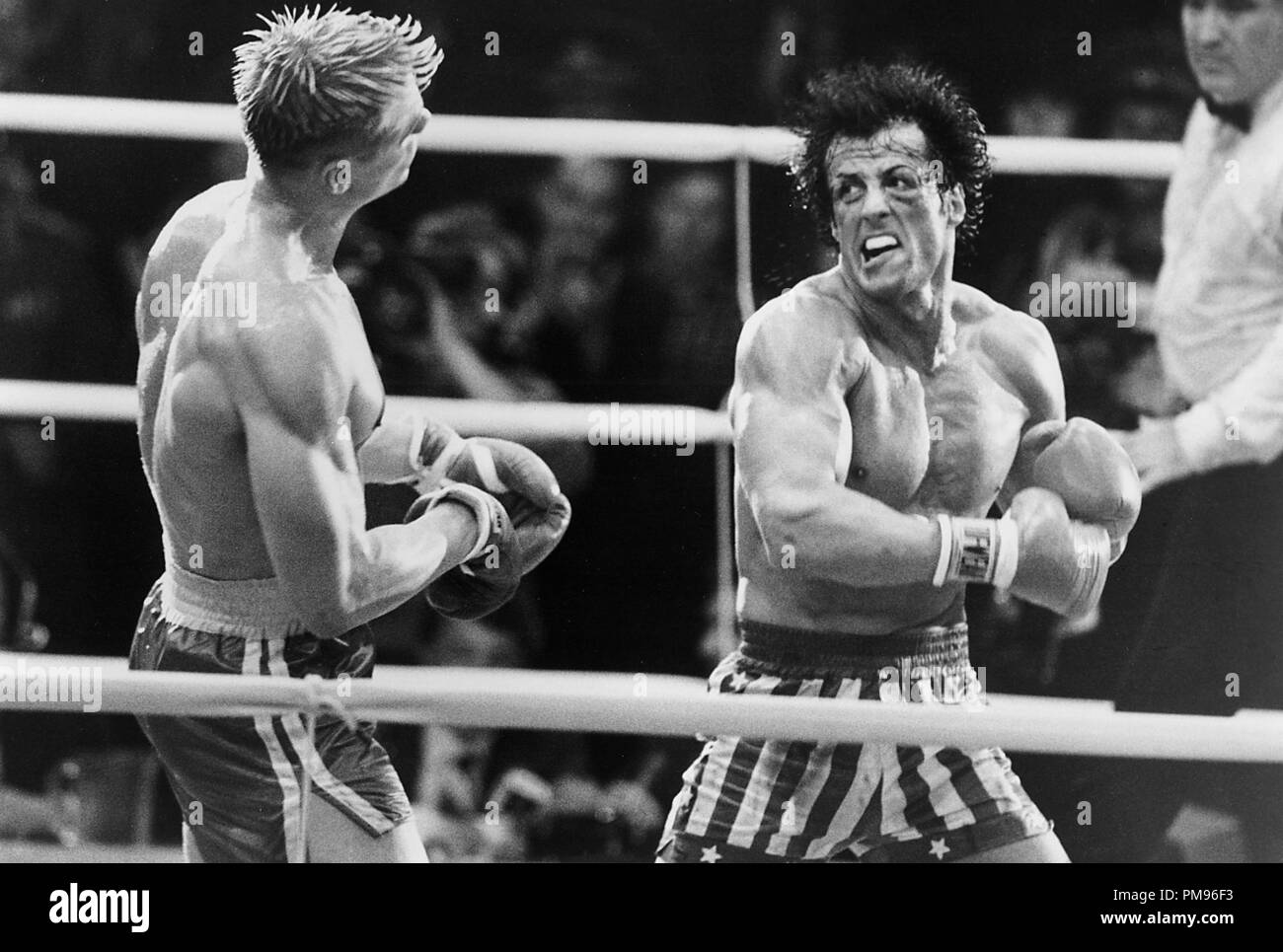 """Studio Publicity Still from """"Rocky IV"""" Sylvester Stallone, Dolph Lundgren © 1985 MGM/UA  All Rights Reserved   File Reference # 31703101THA  For Editorial Use Only Stock Photo"""