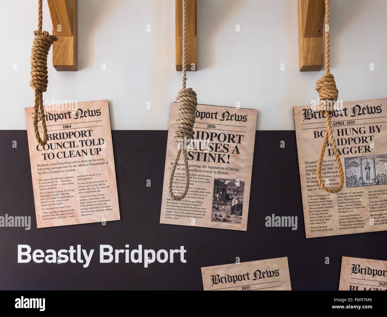 Bridport rope hangman's noose, Dorset, UK - Stock Image