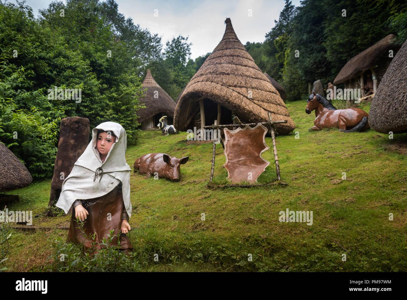 Iron age village reconstruction, National Showcaves, Dan yr Ogof, Wales, UK - Stock Image