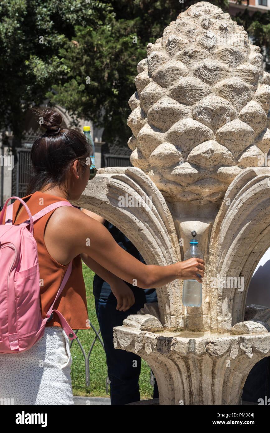 Nasone or Drinking Water Fountain, Rome, Italy Stock Photo