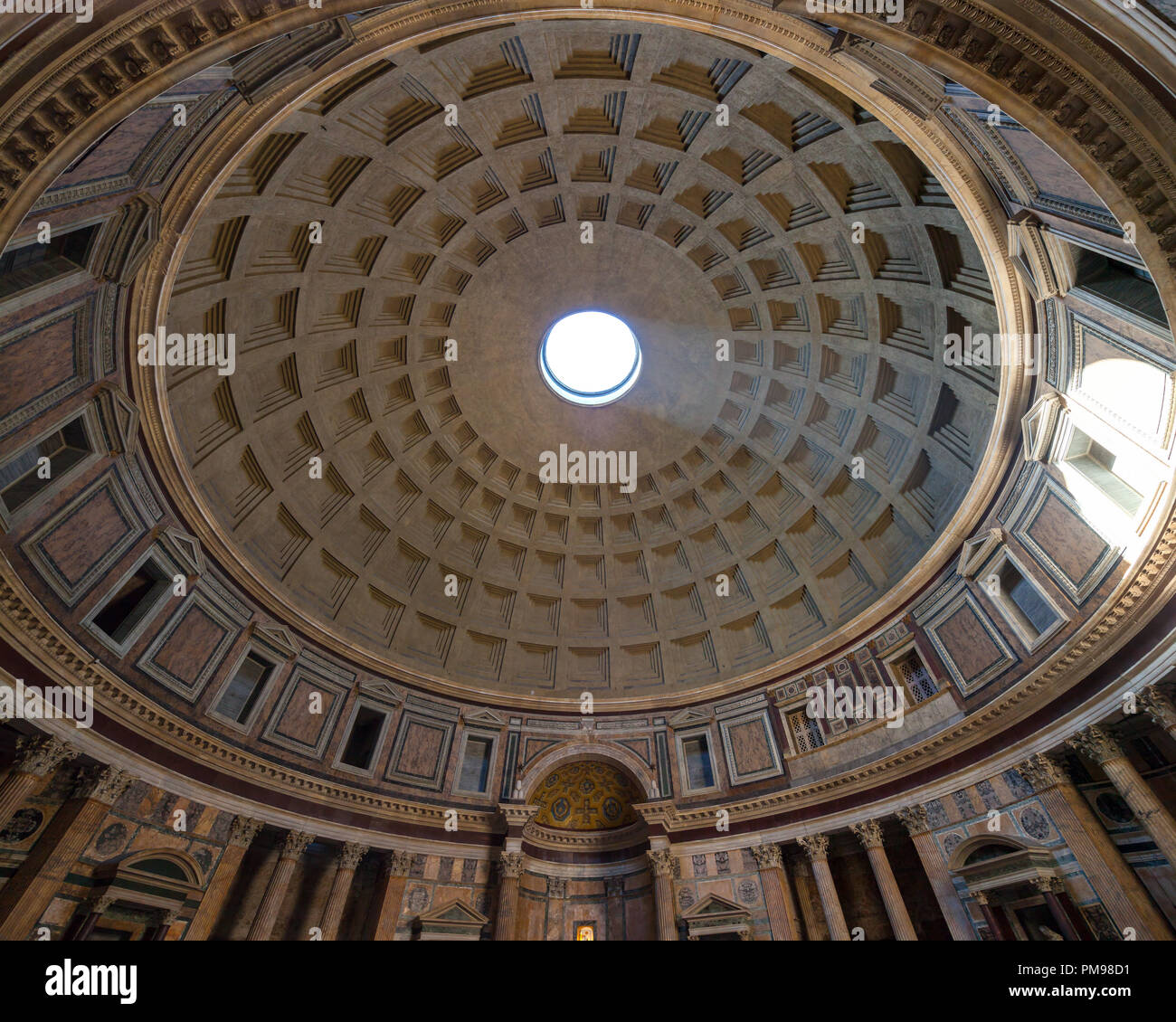 coffered concrete dome of pantheon rome italy stock photo