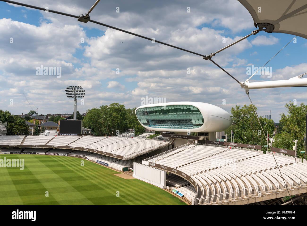J. P. Morgan Media Centre, Lords Cricket Ground, London, UK - Stock Image