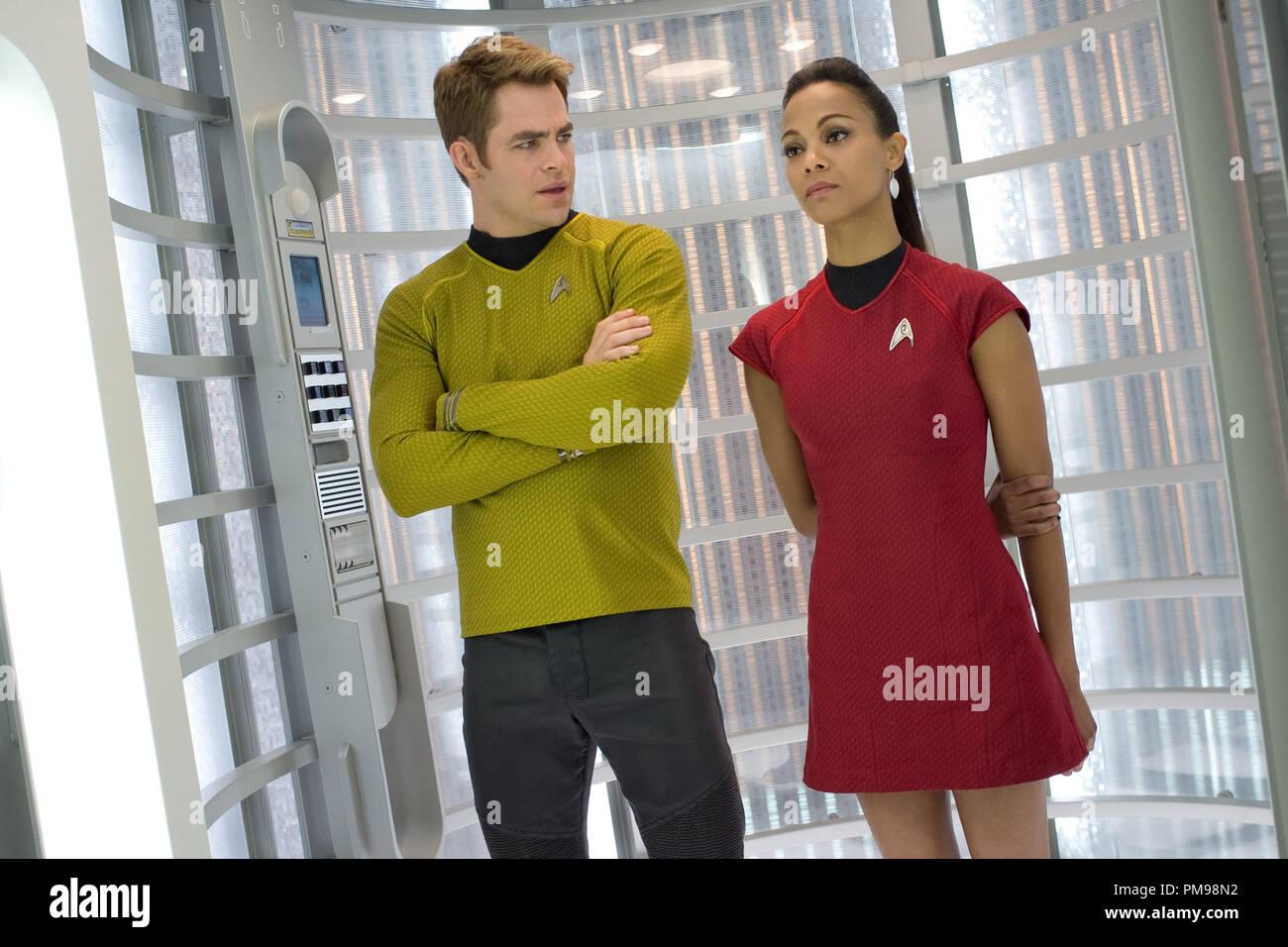 Left To Right Chris Pine Is Kirk And Zoe Saldana Is Uhura