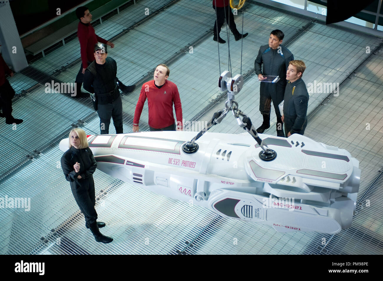 (Clockwise from front) Alice Eve is Carol, Simon Pegg is Scotty, Karl Urban is Bones and Chris Pine is Kirk in STAR TREK INTO DARKNESS, from Paramount Pictures and Skydance Productions. - Stock Image