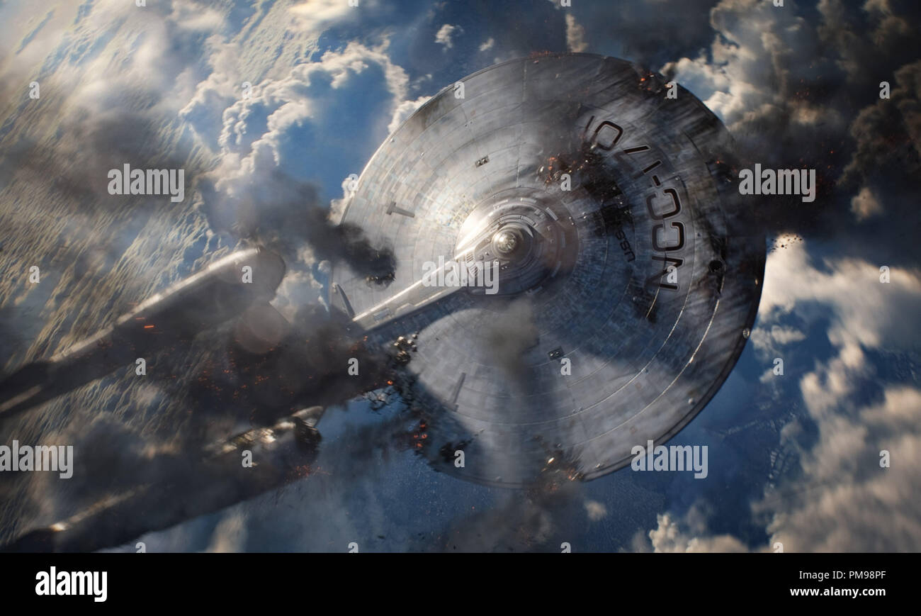 The Enterprise in STAR TREK INTO DARKNESS, from Paramount Pictures and Skydance Productions. - Stock Image