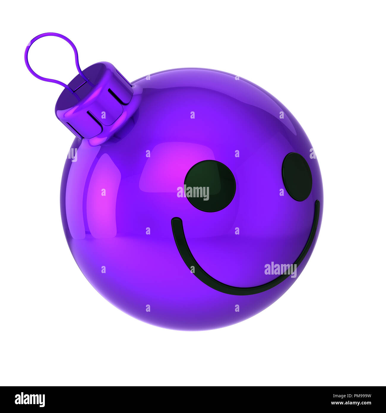 Happy Christmas ball head face funny purple, New Year\'s Eve bauble ...