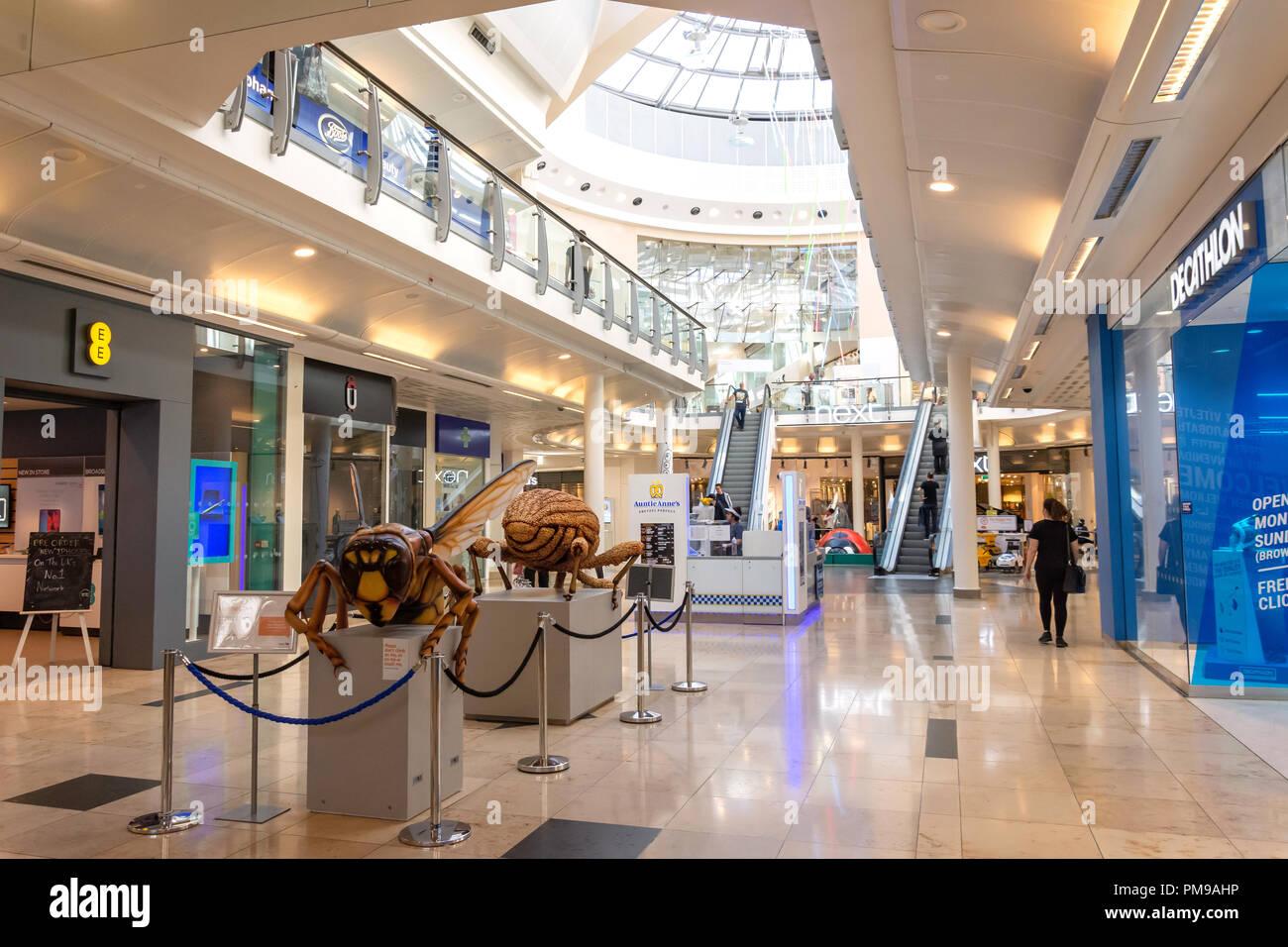 Interior of The Chimes Shopping Centre, Uxbridge, London Borough of Hillingdon, Greater London, England, United Kingdom - Stock Image
