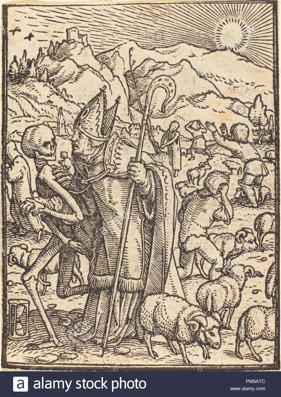 Bishop. Medium: woodcut. Museum: National Gallery of Art, Washington DC. Author: Hans Holbein the Younger. - Stock Image